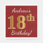 [ Thumbnail: Red, Faux Gold 18th Birthday + Custom Name Paper Napkin ]