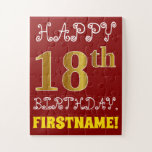 [ Thumbnail: Red, Faux Gold 18th Birthday + Custom Name Puzzle ]