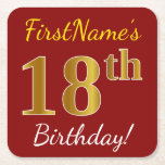 [ Thumbnail: Red, Faux Gold 18th Birthday + Custom Name Paper Coaster ]