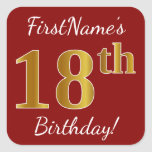 [ Thumbnail: Red, Faux Gold 18th Birthday + Custom Name Sticker ]