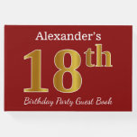 [ Thumbnail: Red, Faux Gold 18th Birthday Party + Custom Name Guest Book ]