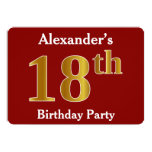 [ Thumbnail: Red, Faux Gold 18th Birthday Party + Custom Name Invitation ]