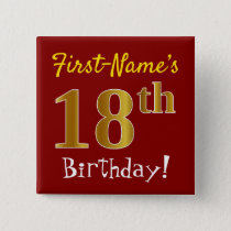 Red, Faux Gold 18th Birthday, With Custom Name Button