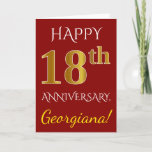 [ Thumbnail: Red, Faux Gold 18th Wedding Anniversary + Name Card ]