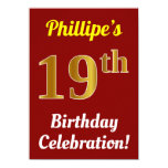 [ Thumbnail: Red, Faux Gold 19th Birthday Celebration + Name Invitation ]