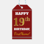 [ Thumbnail: Red, Faux Gold 19th Birthday + Custom Name Gift Tags ]