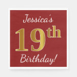 [ Thumbnail: Red, Faux Gold 19th Birthday + Custom Name Paper Napkin ]