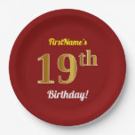 [ Thumbnail: Red, Faux Gold 19th Birthday + Custom Name Paper Plate ]
