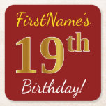 [ Thumbnail: Red, Faux Gold 19th Birthday + Custom Name Paper Coaster ]