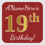 [ Thumbnail: Red, Faux Gold 19th Birthday + Custom Name Sticker ]