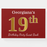 [ Thumbnail: Red, Faux Gold 19th Birthday Party + Custom Name Guest Book ]