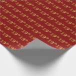 [ Thumbnail: Red, Faux Gold 19th (Nineteenth) Event Wrapping Paper ]