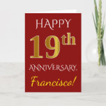 [ Thumbnail: Red, Faux Gold 19th Wedding Anniversary + Name Card ]
