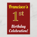 [ Thumbnail: Red, Faux Gold 1st Birthday Celebration + Name Invitation ]