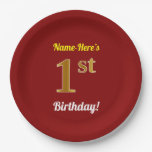 [ Thumbnail: Red, Faux Gold 1st Birthday + Custom Name Paper Plate ]