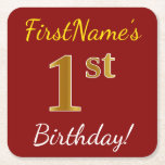 [ Thumbnail: Red, Faux Gold 1st Birthday + Custom Name Paper Coaster ]