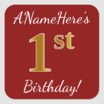 [ Thumbnail: Red, Faux Gold 1st Birthday + Custom Name Sticker ]