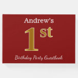 [ Thumbnail: Red, Faux Gold 1st Birthday Party + Custom Name Guest Book ]