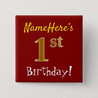 Red, Faux Gold 1st Birthday, With Custom Name Button