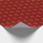 [ Thumbnail: Red, Faux Gold 1st (First) Event Wrapping Paper ]