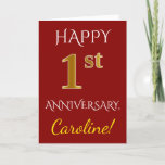 [ Thumbnail: Red, Faux Gold 1st Wedding Anniversary + Name Card ]