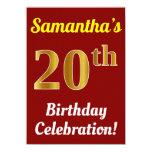 [ Thumbnail: Red, Faux Gold 20th Birthday Celebration + Name Invitation ]