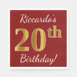 [ Thumbnail: Red, Faux Gold 20th Birthday + Custom Name Napkin ]