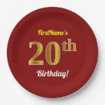 [ Thumbnail: Red, Faux Gold 20th Birthday + Custom Name Paper Plate ]