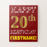 [ Thumbnail: Red, Faux Gold 20th Birthday + Custom Name Puzzle ]