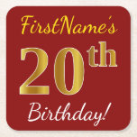 [ Thumbnail: Red, Faux Gold 20th Birthday + Custom Name Paper Coaster ]