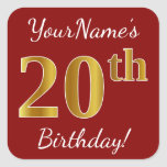[ Thumbnail: Red, Faux Gold 20th Birthday + Custom Name Sticker ]
