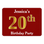 [ Thumbnail: Red, Faux Gold 20th Birthday Party + Custom Name Invitation ]