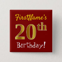 Red, Faux Gold 20th Birthday, With Custom Name Button