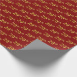 [ Thumbnail: Red, Faux Gold 20th (Twentieth) Event Wrapping Paper ]