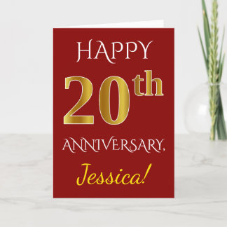 Red, Faux Gold 20th Wedding Anniversary   Name Card