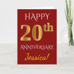 [ Thumbnail: Red, Faux Gold 20th Wedding Anniversary + Name Card ]