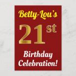 [ Thumbnail: Red, Faux Gold 21st Birthday Celebration + Name Invitation ]