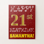 [ Thumbnail: Red, Faux Gold 21st Birthday + Custom Name Puzzle ]