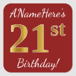[ Thumbnail: Red, Faux Gold 21st Birthday + Custom Name Sticker ]