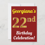 [ Thumbnail: Red, Faux Gold 22nd Birthday Celebration + Name Invitation ]