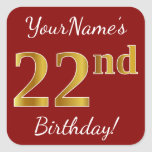 [ Thumbnail: Red, Faux Gold 22nd Birthday + Custom Name Sticker ]