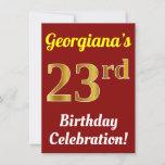 [ Thumbnail: Red, Faux Gold 23rd Birthday Celebration + Name Invitation ]