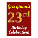 [ Thumbnail: Red, Faux Gold 23rd Birthday Celebration + Name Invitation ]