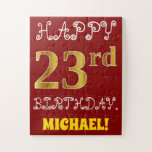 [ Thumbnail: Red, Faux Gold 23rd Birthday + Custom Name Puzzle ]