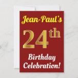 [ Thumbnail: Red, Faux Gold 24th Birthday Celebration + Name Invitation ]