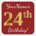 [ Thumbnail: Red, Faux Gold 24th Birthday + Custom Name Sticker ]