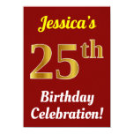 [ Thumbnail: Red, Faux Gold 25th Birthday Celebration + Name Invitation ]