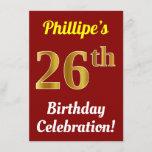[ Thumbnail: Red, Faux Gold 26th Birthday Celebration + Name Invitation ]