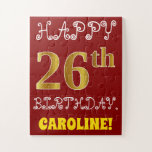[ Thumbnail: Red, Faux Gold 26th Birthday + Custom Name Puzzle ]