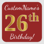 [ Thumbnail: Red, Faux Gold 26th Birthday + Custom Name Sticker ]